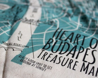 Canvas Shopping Bag with Budapest Treasur Map