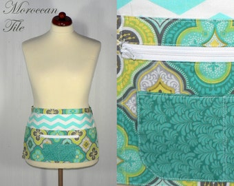 MOROCCAN TILE Lotsa Pockets Apron, Vendor Apron with zipper pocket, Teacher /Waitress /New Mommy Apron - made to order in 2 sizes