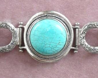 Turquoise Stone Bracelet Chunky Gorgeous Retro Vintage