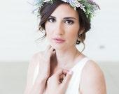 Lavender Bridal Flower Wreath, Heather Flower Crown, Bridal Hair Crown, Floral Hair Wreath, Purple Flower Headband, Flower Headpiece