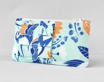 Woman's ruffle modern flower coin purse change pouch wallet floral print in orange,royal blue and light aqua.