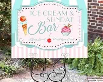 Ice cream sign- Ice cream bar sign- Sundae Bar sign- Ice Cream Party- Sundae Table Sign-Printable- You Print