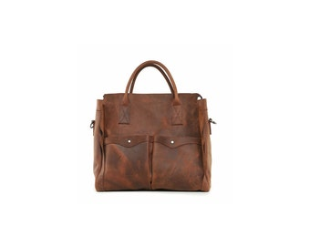 Large brown distressed leather weekender bag with two front pockets