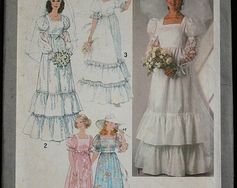 Simplicity 8374 1970s 70s Prairie Girl Medieval Gothic Wedding Dress Bridesmaid Vintage Sewing Pattern Size 5-7-9 Bust 31-32-33
