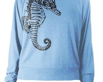 Womens Long Sleeve Lightweight Pullover - Seahorse Sweater - Nautical Seahorse Sweatshirt - American Apparel Raglan