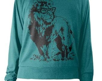 SALE Womens Lion Professor Tri-Blend Light Weight Raglan Pullover American Apparel Ladies Geeky Nerdy Lion Sweater Gift Idea For Present - M