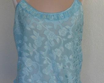 Vintage Camisole Sheer Burn out Aqua Cami Size Medium Morgan Taylor Intimates