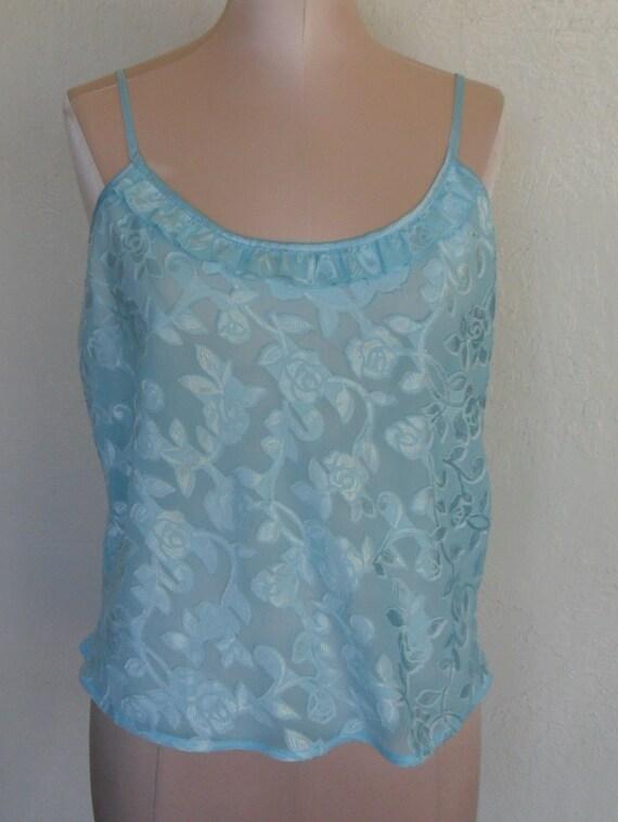 Vintage Camisole Sheer Burn Out Aqua Cami Size Medium Morgan