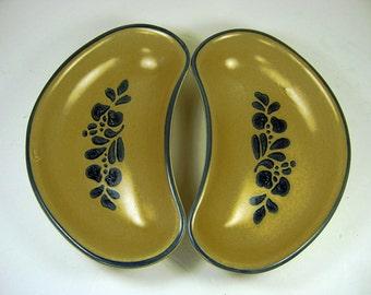 Vintage PFALTZGRAFF FOLK ART Salad Plate Set/2 Kidney Shape Dish Stoneware