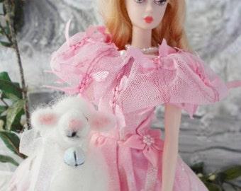 "Vintage Handmade Barbie/Silkstone/Integrity Fashion-""Winter Wonderland"" with Needle felted Lamb"