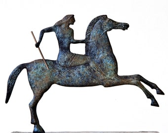 Greek Sculpture Horse & Jockey, Metal Art Sculpture, Ancient Greece, Museum Replica, Horse Art Statue, Equine Decor, Greek Art, Art Decor