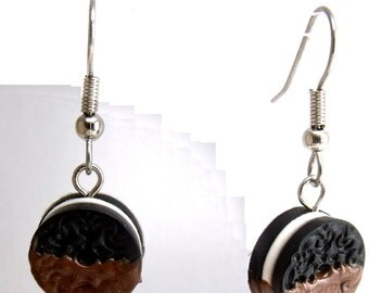 Polymer Clay Chocolate Covered Oreo Earrings