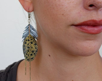 Gold Feather Earrings, Handmade Argus Feathers, Painted Faux Leather