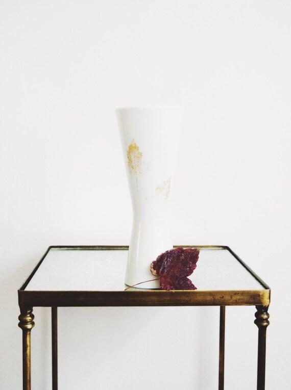 Mid Century Gold Leaf Glazed Porcelain Vase // Hutschenreuther Hohenberg