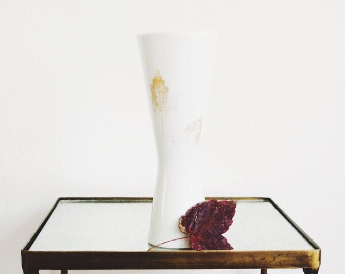 Mid Century Gold Leaf Glazed Porcelain Vase // Hutschenreuther Hohenberg // Modern Autumn Decor