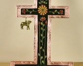 Copper Cross with Lamb Milagro Standing Retablo Cross