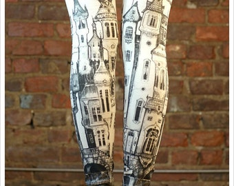 leggings - Victorian City leggings by Carousel Ink  - stockings tights - carousel ink XLARGE