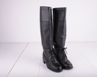 Vintage Blondo Black Leather Tall Riding Boots, Made in Canada, Womens 6 1/2 / ITEM259