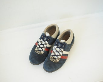 Vintage Dunham Tyroleans Blue Red and White Leather Italian Ankle Hiking Boots, Mens 7 1/2, Womens 9 / ITEM172