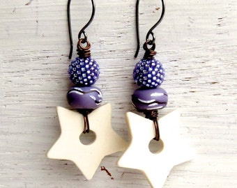 Star Struck - handmade soft purple star bohemian dangle earrings, lilac star art bead earrings - Songbead UK, narrative art jewelry