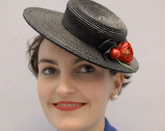 The Beaux Hat -  Black Boater w/ Vintage Red Cherry Bow & Flower Detail - 1940's - Wedding Hat - Hat for Races - Melbourne Cup