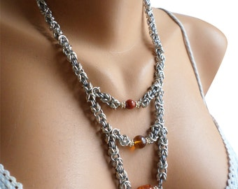 Multi Strand Beaded Necklace, Multi Layer Necklace, Beaded Chainmail Necklace, Amber Beaded Necklace, Layering Jewelry