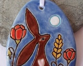 Ceramic Pottery Harvest Moongazing Hare Art Tile, Hanging Decoration, Wheat and Poppies, Pottery Wall Art,  Hare Animal Totem, Hare Gift