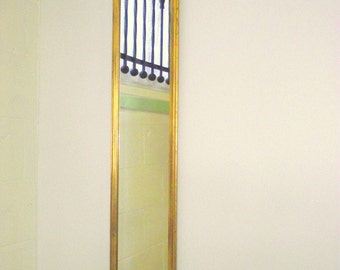 Hollywood Regency Petite Full Length Gold Mirror - Solid Wood Carved Frame - Leaning or Wall... narrow
