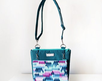 Cross Body Bag for Women with Pockets, Zips and Adjustable Strap in Teal Geometric Print