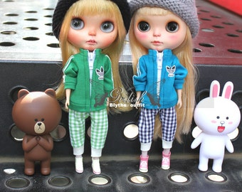 Girlish - Green / Blue Sports Top for Blythe doll - dress / outfit