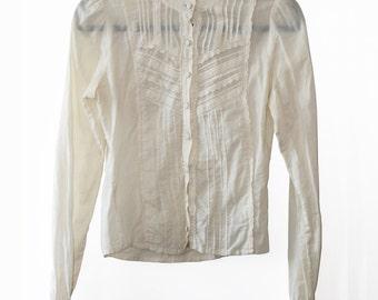 Vintage Cotton Blouse, Victorian Blouse, Top, Cotton Shirt, Lace, Cream, Ivory, Pale, Size XSmall (US 2)