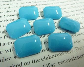 2 glass jewels, 18x13mm, light blue, octagon