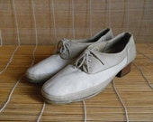 Vintage Off White Leather Lace Up Derby Shoes Size EUR 39.5 / US Woman 8 1/2