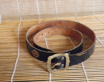 """Vintage Aged Dark Brown Leather Tooled Belt Fits from 29"""" to 33"""" waist"""