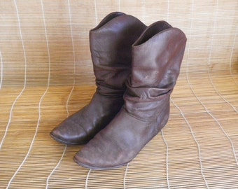 Vintage Lady's Brown Leather Slouch Boots Size EUR 38 / US Woman 7 1/2