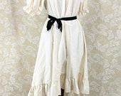 """Steampunk Ragamuffin Dress with Short Sleeves in Natural Cotton -- Size L, Fits Bust 44""""-48"""" -- Ready to Ship"""