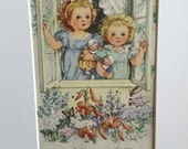 Prayers for Children, Vintage Golden Book, Page Art, Matted, 5x7, 8x10, Wall Decor, Nursery, Girls Room, Baby Shower, 1942, Free Shipping