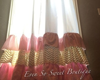 Ruffled Curtain Panels in metallic gold, pink, white, and lace