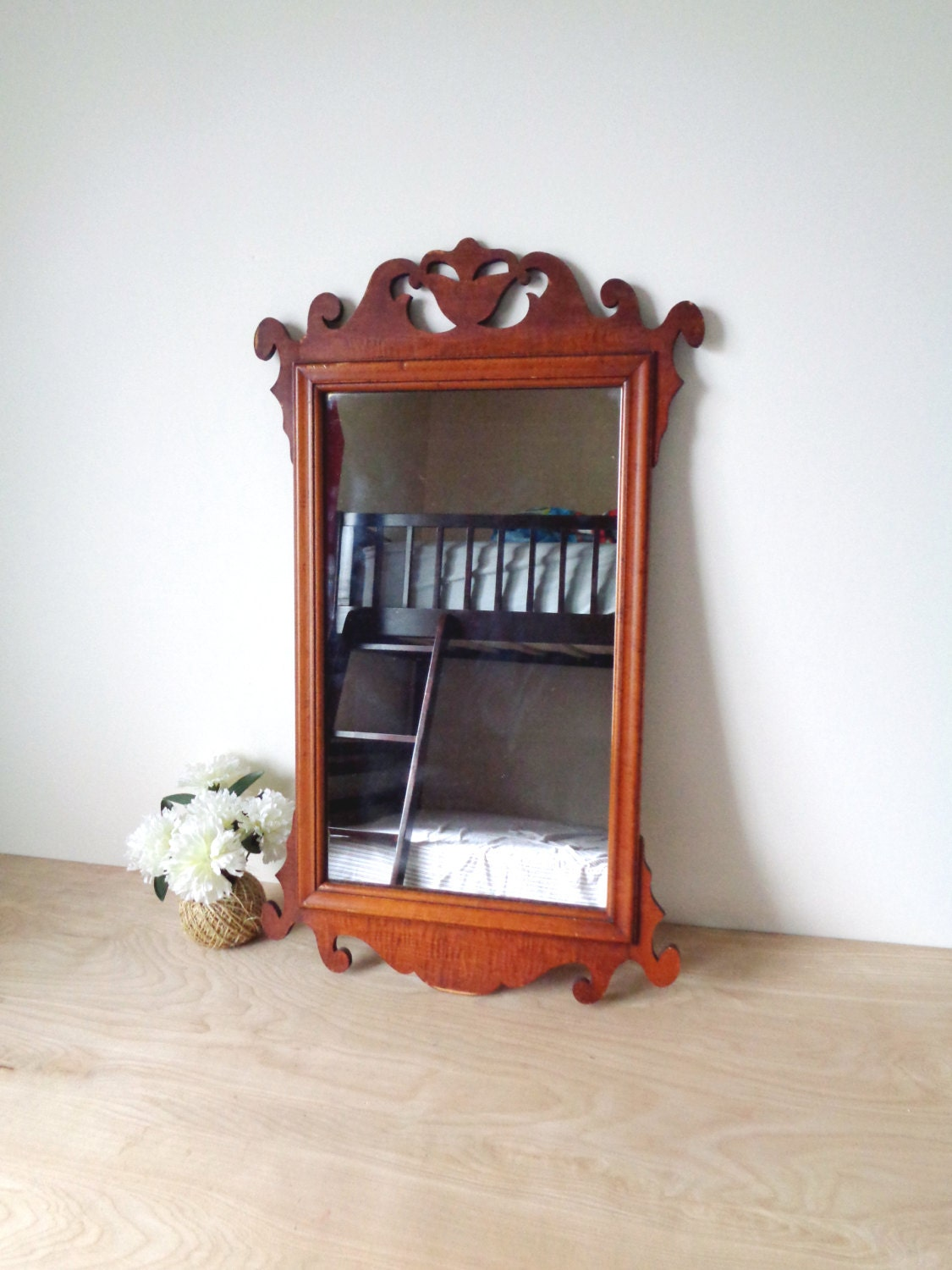Vintage Chippendale Style Cherry Wood Wall Mirror Home