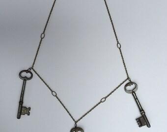 Handmade antique skeleton key necklace