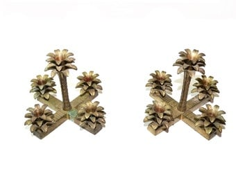 Palm Tree Candelabra Palm Tree Candle Holders Brass Palm Trees Tropical Decor Palm Beach Decor  - Set of 2