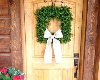 Boxwood Door Wreath-Square Wreath-Summer Wreaths-Outdoor BOXWOOD Wreath-Housewarming Gift-Home Decor-Year Round Wreath-Wedding Gift-Gifts