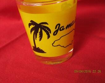 Vintage Jamaica Shot Glass Yellow Black Palm Tree Souvenir