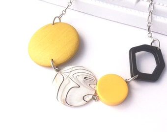 Chunky Yellow Necklace - Geometric Jewelry - Yellow Accessory - Big Chunky Wood Necklace - Mustard Yellow Necklace - Black and White Jewelry
