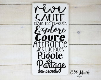 wood sign, hand painted,baby boy sign, baby girl sign,baby shower, children's room, nursery decor, Rêve, saute dans les flaques (n# 1-1-022)