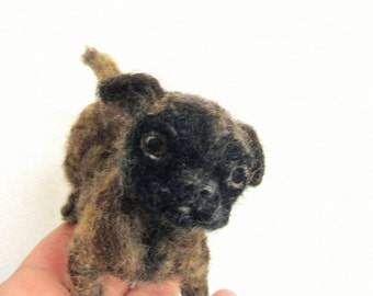 Felt pug,  needle felted dog, soft sculpture, custom pug portrait, MADE to ORDER, Your dogs replica, felted pet