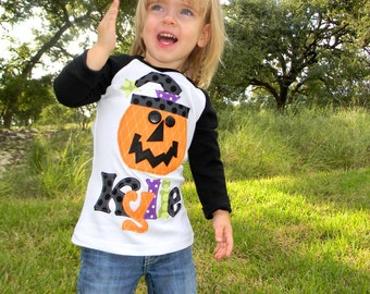 Girls Halloween Long Sleeved, Personalized Pumpkin Shirt, Size 6-12m to 12yrs