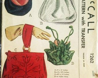 Original McCalls 1262 1946 Vintage Sewing Pattern BAGS & TRANSFER True Vintage