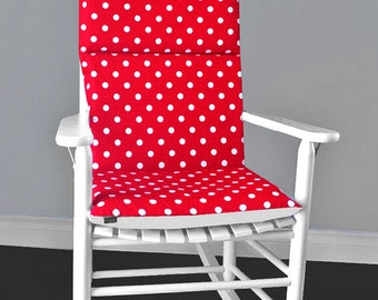 Rocking Chair Cushion Cover - Red White Polka Dot, Ready to Ship