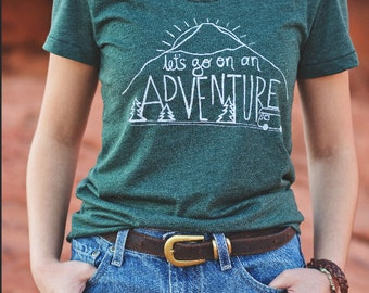 Womens Fitted T Shirt - Let's Go On An Adventure - S M L XL - Hand Screen Printed